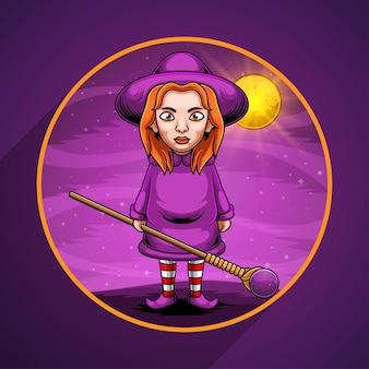 Logotipo de la mascota de la bruja en medio de la noche.