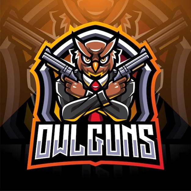 Logotipo de la mascota de búho artilleros esport