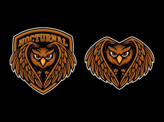 Logotipo de la mascota de búho esport
