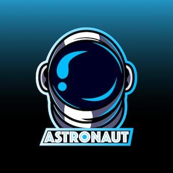 Logotipo de la mascota de la cabeza de astronauta galaxy