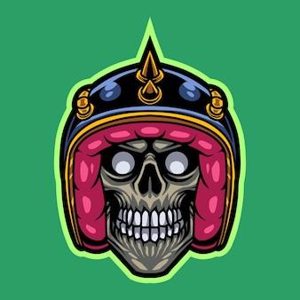 Logotipo de la mascota de la cabeza del cráneo del jinete