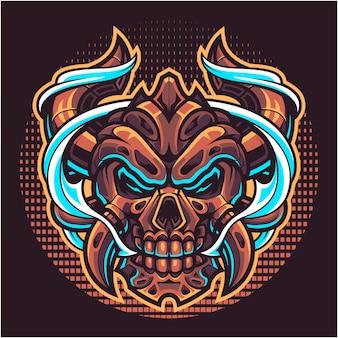 Logotipo de la mascota de la cabeza del diablo del cráneo