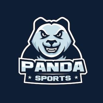 Logotipo de la mascota de la cabeza enojada de panda para deportes, ilustración del logotipo del juego de deportes