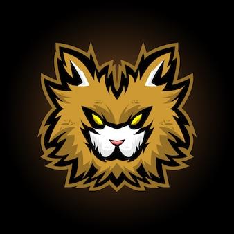 Logotipo de la mascota de cabeza de gato para e sports