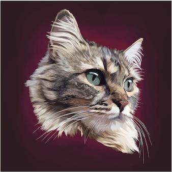 Logotipo de mascota de cabeza de gato realista