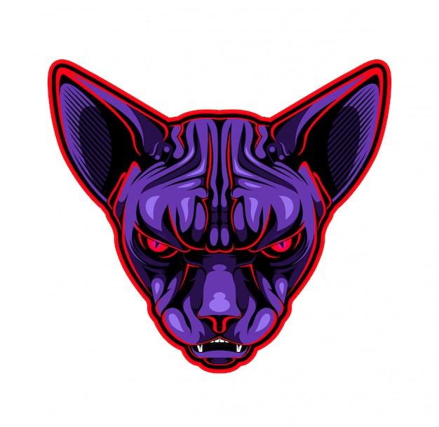 Logotipo de la mascota de la cabeza de gato sphynx