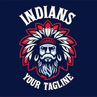 Logotipo de la mascota cabeza india barbudo