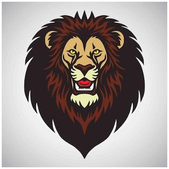 Logotipo de la mascota de cabeza de león,