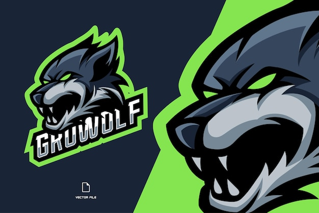 Logotipo de mascota de cabeza de lobo enojado para juego deportivo