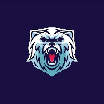 Logotipo de mascota de cabeza de oso polar enojado