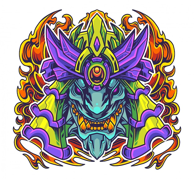 Logotipo de la mascota de la cabeza del samurai de oni