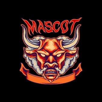 Logotipo de la mascota de la cabeza de toro