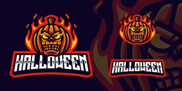 Logotipo de la mascota de la calabaza de halloween logotipo de la mascota del juego para el transmisor y la comunidad de esports