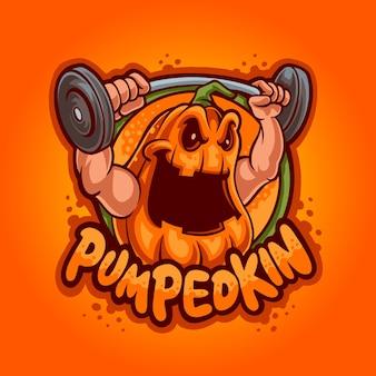 Logotipo de la mascota de la calabaza de levantamiento de pesas