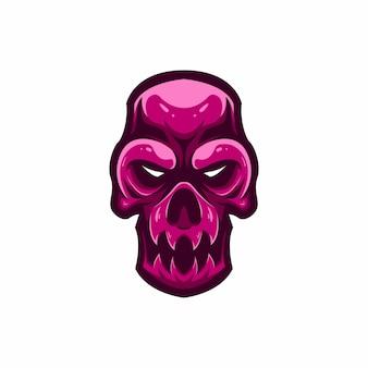 Logotipo de la mascota caramelo cabeza del cráneo
