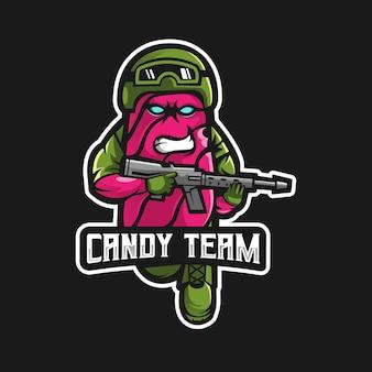 Logotipo de la mascota de caramelo esport gaming