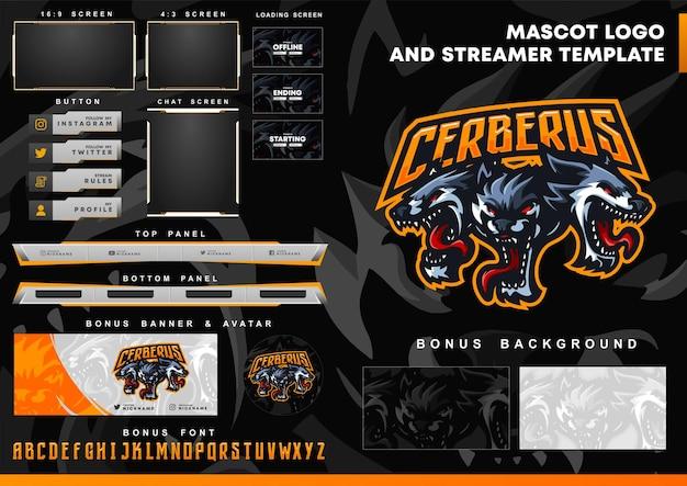 Logotipo de la mascota cerberus wolf y plantilla de superposición de twitch