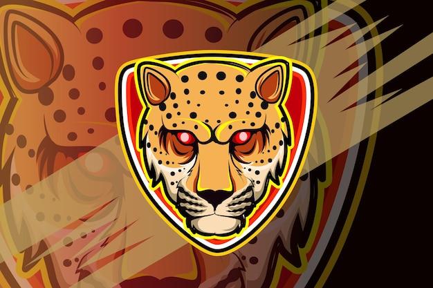 Logotipo de la mascota cheetah para juegos deportivos electrónicos