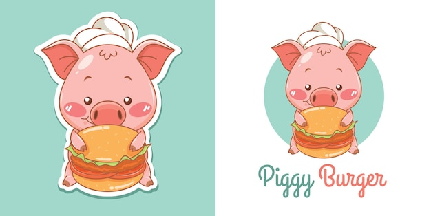 Logotipo de mascota de chef de cerdo lindo con hamburguesa