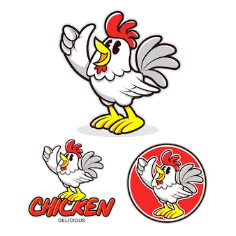 Logotipo de la mascota de chiken cartoon