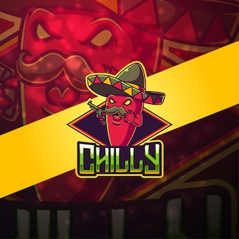 Logotipo de la mascota de chilly esport