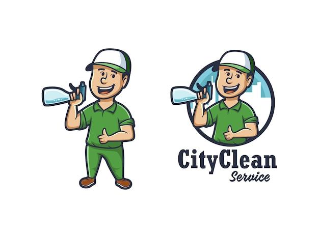 Logotipo de la mascota de la ciudad limpia