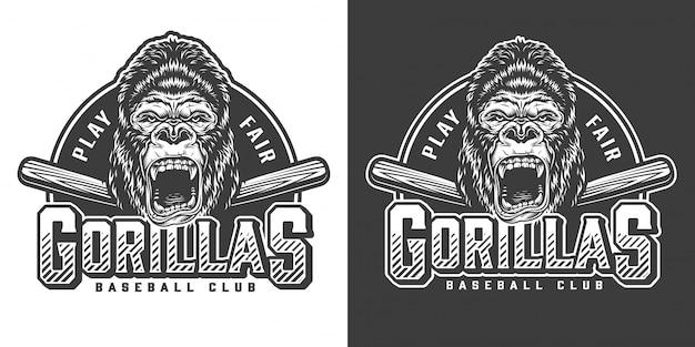 Logotipo de la mascota del club de béisbol monocromo vintage