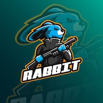 Logotipo de la mascota del conejo con un estilo de ilustración moderno para la impresión de insignias, emblemas y camisetas.