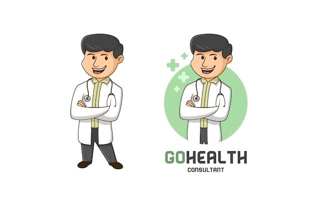 Logotipo de la mascota del consultor de salud