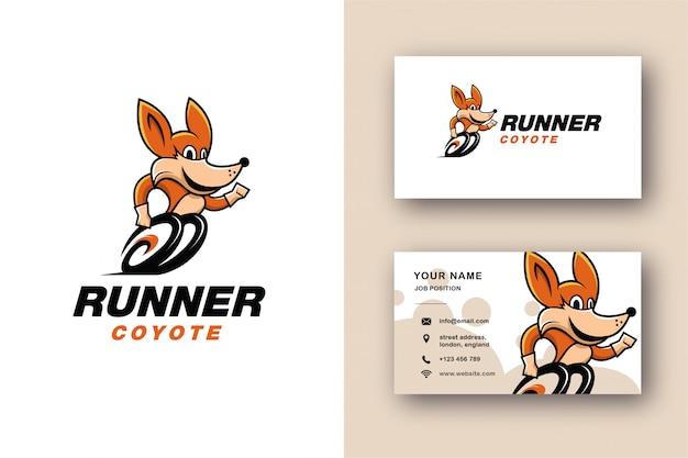 Logotipo de la mascota coyote y plantilla de tarjeta de visita