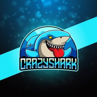 Logotipo de la mascota de crazy shark esport