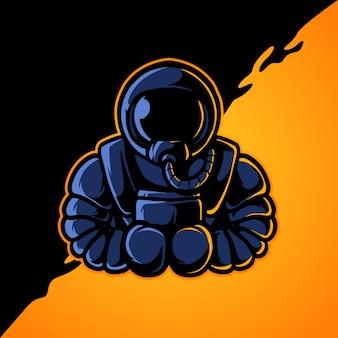 Logotipo de la mascota del deporte del astronauta e del boxeo