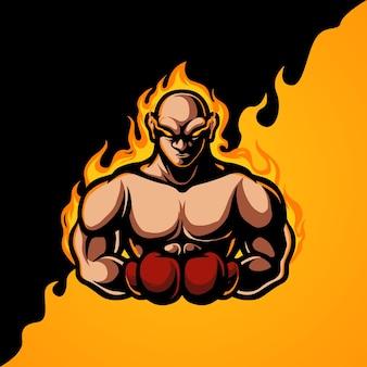 Logotipo de la mascota del deporte del boxeo e