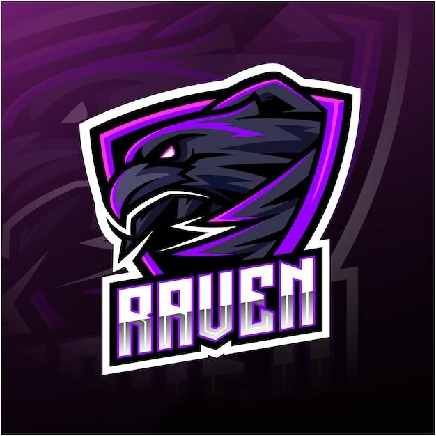Logotipo de la mascota del deporte cuervo