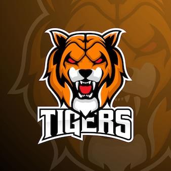 Logotipo de la mascota del deporte electrónico del equipo tiger
