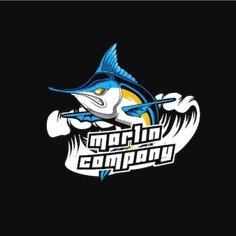 Logotipo de mascota deportiva y deportiva de pez marlin