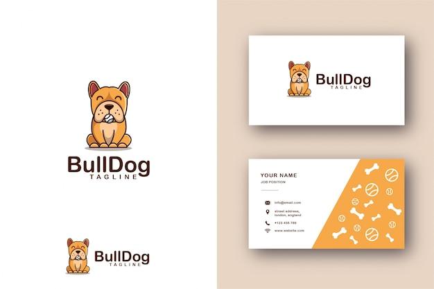 Logotipo de mascota de dibujos animados de bulldog y plantilla de tarjeta de visita