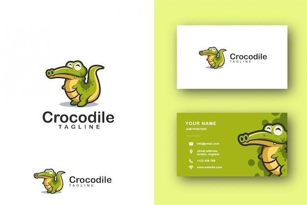 Logotipo de mascota de dibujos animados de cocodrilo cocodrilo y plantilla de tarjeta de visita