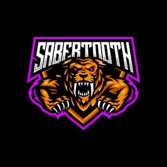 Logotipo de la mascota diente de sable esport gaming