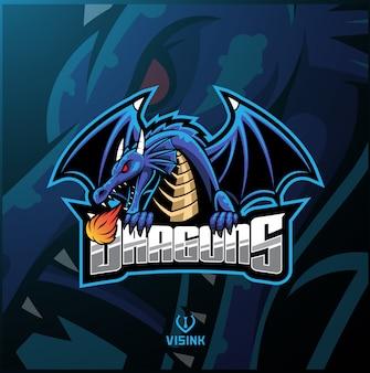 Logotipo de la mascota del dragón deportivo