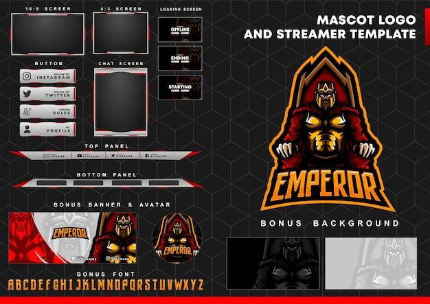 Logotipo de la mascota del emperador y plantilla de superposición de twitch