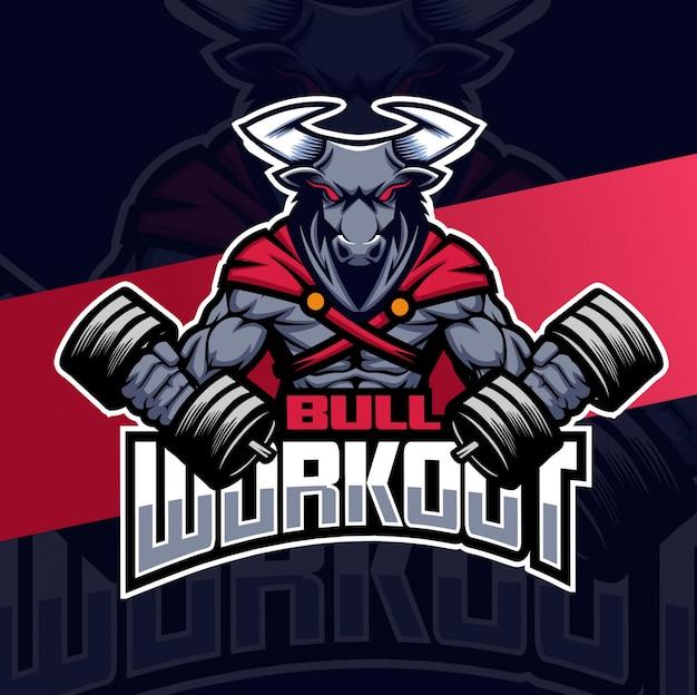 Logotipo de mascota de entrenamiento de toro