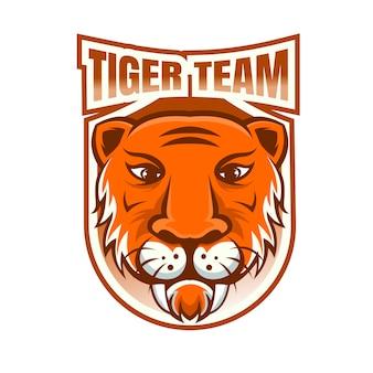 Logotipo de la mascota del equipo de deportes electrónicos del equipo tigre