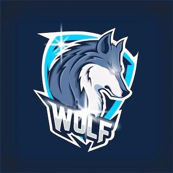 Logotipo de la mascota del equipo de deportes electrónicos de lobo enojado