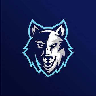 Logotipo de la mascota de esport de cabeza de lobo