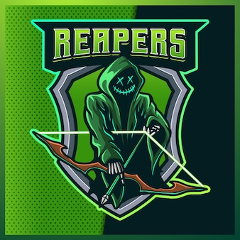 Logotipo de la mascota de esport de color verde resplandor de hood reaper
