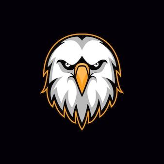 Logotipo de la mascota esport de ilustración de vector de cabeza de águila