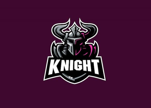 Logotipo de la mascota de esport más fuerte de knight