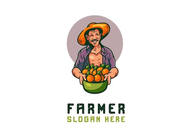 Logotipo de la mascota de las frutas de naranja del granjero
