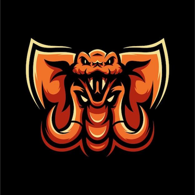 Logotipo de la mascota fusion serpiente y elefante